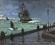 The Jetty at Le Havre painting reproduction, Claude Monet