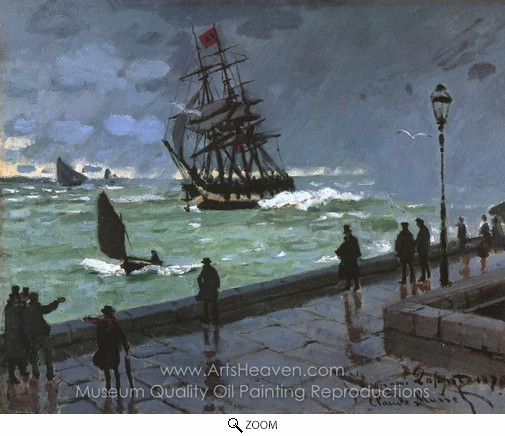 Claude Monet, The Jetty at Le Havre oil painting reproduction