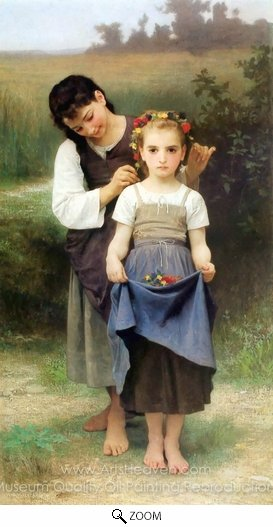 William A. Bouguereau, The Jewel of the Fields (Parure des Champs) oil painting reproduction