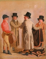 The Jockey Frank Buckle, the Owner-Breeder John Wastell, his Trainer Robert Robson, and a Stable-lad painting reproduction, Benjamin Marshall