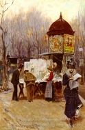 The Kiosk, Paris painting reproduction, Carlo Brancaccio