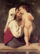 The Kiss (Le Baiser) painting reproduction, William A. Bouguereau