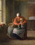 The Knitting Lesson painting reproduction, Jean-Francois Millet