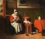 The Lacemaker painting reproduction, Nicolaes Maes