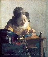 The Lacemaker painting reproduction, Jan Vermeer