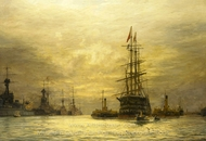 The Last Voyage of HMS Victory 1922 painting reproduction, William Lionel Wylie