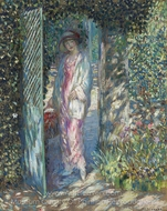 The Lattice Gate painting reproduction, Frederick Carl Frieseke