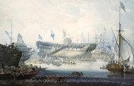 The Launch of the Honourable East India Company's Ship Edinburgh painting reproduction, William John Huggins