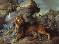 The Lion and the Fly painting reproduction, Jean-Baptiste Oudry
