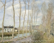 The Loing's Canal painting reproduction, Alfred Sisley