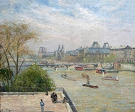 The Louvre, Spring painting reproduction, Camille Pissarro