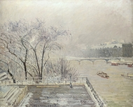 The Louvre Under Snow painting reproduction, Camille Pissarro