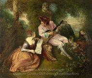 The Love Song painting reproduction, Jean Antoine Watteau