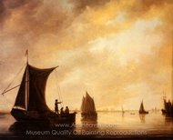 The Maas at Dordrecht with Fishing Boats painting reproduction, Aelbert Cuyp