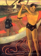 The Man with the Axe painting reproduction, Paul Gauguin
