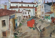 The Market Place, Vitebsk painting reproduction, Marc Chagall (inspired by)