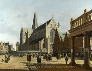 The Market Place and the Grote Kerk at Haarlem painting reproduction, Gerrit Berckheyde