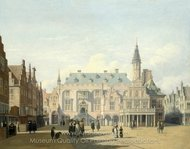 The Market Place and Town Hall, Haarlem painting reproduction, Gerrit Berckheyde