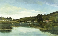 The Marne at Chennevieres painting reproduction, Camille Pissarro