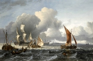 The Merchant Shipping Anchorage in the Texel painting reproduction, Ludolf Backhuysen