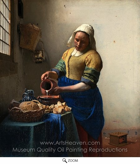 Jan Vermeer, The Milkmaid oil painting reproduction