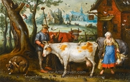 The Milkmaid painting reproduction, Lucas Van Leyden