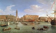 The Molo: Seen from the Basin of San Marco painting reproduction, Canaletto