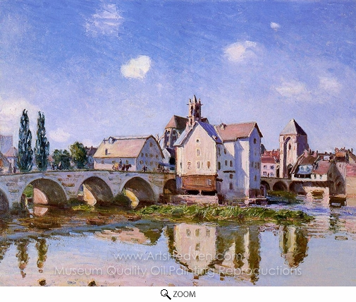 Alfred Sisley, The Moret Bridge in the Sunlight oil painting reproduction