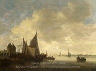 The Mouth of an Estuary with a Gateway painting reproduction, Jan Van Goyen