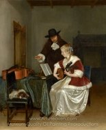 The Music Lesson painting reproduction, Gerard Ter Borch