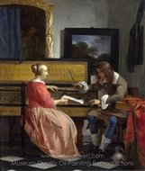 The Music Lesson painting reproduction, Gabriel Metsu