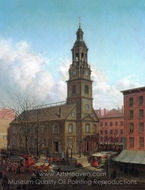 The North Dutch Church, Fulton and William Streets, New York painting reproduction, Edward Lamson Henry