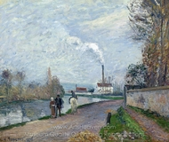 The Oise Near Pontoise in Grey Weather painting reproduction, Camille Pissarro