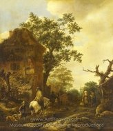 The Outskirts of a Village, with a Horseman painting reproduction, Isaac Van Ostade