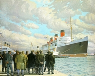 The Passenger Liner Queen Mary Arriving at Southampton 27 March 1936 painting reproduction, Charles Pears
