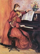 The Piano Lesson painting reproduction, Pierre-Auguste Renoir