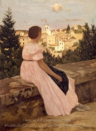 The Pink Dress painting reproduction, Jean Frederic Bazille