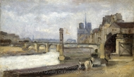 The Pont de la Tournelle, Paris painting reproduction, Stanislas-Victor-Edmond Lapine
