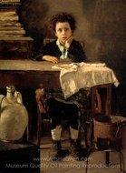 The Poor Schoolboy painting reproduction, Antonio Mancini