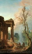 The Portico of a Country Mansion painting reproduction, Hubert Robert