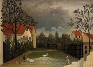 The Poultry Yard painting reproduction, Henri Rousseau