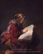 The Prophetess Anna, Rembrandt's Mother painting reproduction, Rembrandt Van Rijn