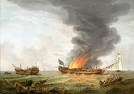 The Quebec and Surveillance In Action, 6 October 1779 painting reproduction, Robert Dodd