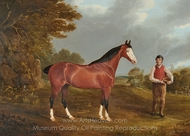 The Racehorse Whiteface with Groom J. Gilham painting reproduction, John Frederick Herring Sr.