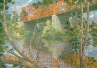 The Red Bridge painting reproduction, Julian Alden Weir