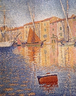 The Red Buoy, Saint Tropez painting reproduction, Paul Signac