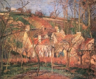 The Red Roofs painting reproduction, Camille Pissarro