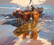 The Return from Fishing, Valencia Beach painting reproduction, Joaquin Sorolla