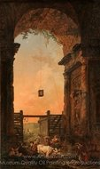 The Return of the Cattle painting reproduction, Hubert Robert