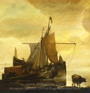 The Rising Tide at Dawn painting reproduction, Jan Van De Cappelle